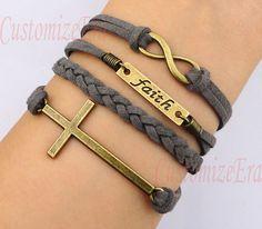 Faith bracelet Infinity braceletcross by CustomizeEra on Etsy, $4.99