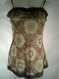 Hot Tempered Green Brown Floral Women's Cami Size Large #HotTempered #TankCami #Casual