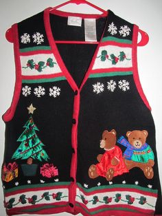 Ugly Christmas Sweater Vest Size L Beads Felt Pearls Bears Gifts Holly Snowflake #KathyLeeGifford #Crewneck