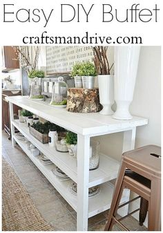 The best DIY projects & DIY ideas and tutorials: sewing, paper craft, DIY. Diy Furniture : DIY White Buffet decorated for spring -Read Decor, Home Diy, Furniture Diy, Diy Dining, Sweet Home, Dining Room Buffet, Furniture, Diy Dining Room, Home Decor