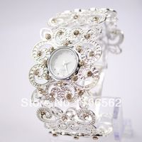 Free shipping brand watch women 2014 Antique Hollow Out Silver with Crystal Rhinestone Girl Alloy Quartz Adjustable Wrist Watch