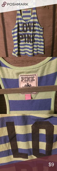 XS VS Pink Striped Tank Fun and loose striped tank from VS Pink. Has some fading as shown by pic 3. PINK Victoria's Secret Tops Tank Tops