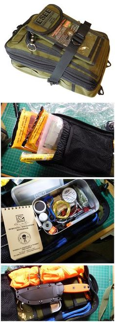Quik glance inside ESEE's Advanced Survival Kit, a good foundation for back country aviators. - Tap The Link Now To Find Gadgets for Survival and Outdoor Camping Survival Food, Camping Survival, Outdoor Survival, Survival Knife, Survival Prepping, Emergency Preparedness, Survival Skills, Survival Hacks, Survival Stuff