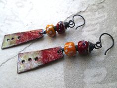 SABATINA Rustic Enamel & Lampwork Glass Dangle Earrings on Etsy, $42.00