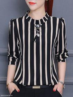 Vertical Striped Chiffon Blouse - fashionMia.com
