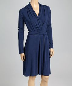 Another great find on #zulily! French Navy Organic Surplice Dress by Blue Canoe #zulilyfinds