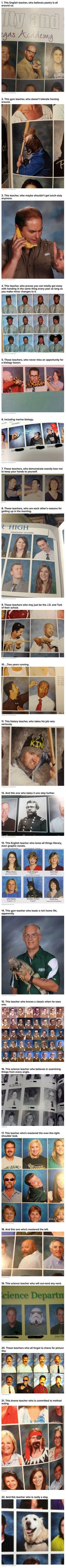We have rounded up some geeky teachers who are making the most of their normally boring yearbook photos.