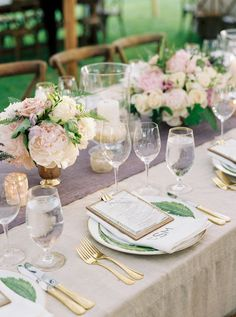 Elegant and simple wedding table place settings. Southern Weddings, Simple Weddings, Romantic Weddings, Wedding Goals, Destination Wedding, Wedding Centerpieces, Wedding Decorations, Tall Centerpiece, Centrepieces