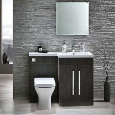 Gabrielle 1100mm Spacesaving Combination Bathroom Toilet & Sink Unit - Avola Grey
