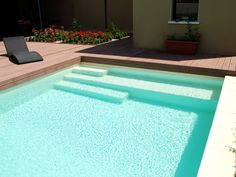 Outdoor Patio Steps Courtyards New Ideas Small Backyard Pools, Backyard Pool Designs, Small Pools, Outdoor Pool, Patio Steps, Pool Steps Inground, Piscina Rectangular, Rectangle Pool, Pool Landscape Design