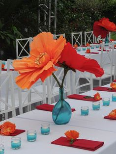 giant paper poppy tropical wedding - definitely not those colors though!