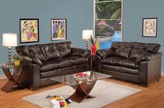 Hayley Premier Chocolate Bonded Leather Living Room Sets