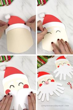 Learn how to make this simple and fun handprint Santa Claus craft for kids this Christmas! It's a fun keepsake kids will love to do. grundschule, A Simple Santa Handprint Craft For Kids Christmas Arts And Crafts, Santa Crafts, Preschool Christmas, Christmas Activities, Kids Christmas, Holiday Crafts, Christmas Projects, Thanksgiving Crafts, Thanksgiving Decorations