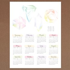 Gemstone 2015 calendar from Love vs. Design