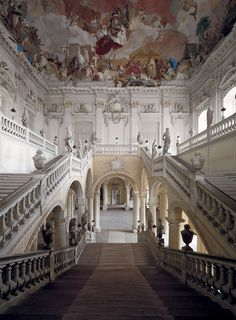 Residenz, one of the largest and most beautiful baroque palaces in Wurzburg, Bavaria . It took sixty years to complete; the palace was built from 1720 to 1744 and the interior finished in 1780.