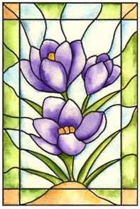 Stained Glass Crocus Cling Stamp br(Click to see card samples)