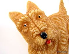 Scottie Dog Brooch Celluloid with Movable Head by worn2perfection