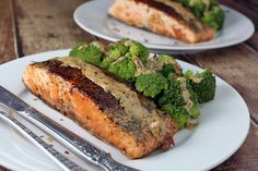 Salmon with dill & tarragon cream sauce — Keto-friendly, minor substitutions for paleo-friendly