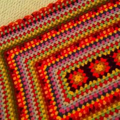 Homemade crocheted blanket...found at Goodwill today for $1.99!  Just washed it up!  Love the colors!  Truly artwork!