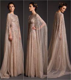 HUGE design crush on these Krikor Jabotian beauties - Hochzeitskleid Modern Muslimah Wedding Dress, Muslim Wedding Dresses, Bridal Dresses, Prom Dresses, Hijab Bride, Muslim Brides, Wedding Hijab, Muslim Couples, Dress Muslimah