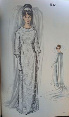 Wedding gown pattern from a 1968 Vogue Patterns catalog. #voguepatterns #vintagesewing #vintagebride