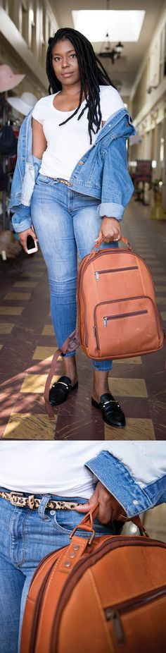 #Girlbosses out there, we see you. Inspiration: our Sr. Social Media Manager Shaleria. Can you say #momboss goals? Her lucky brown #leather #backpack ( purchased at an outlet for $200 less than retail ) makes for a perfect accessory for a modern mommy's capsule wardrobe