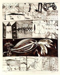 Contemporary Tribal:    John Pule, Niuean artist, Hiapo inspired lithograph    Chloe draws like this!!!!!!!!!!