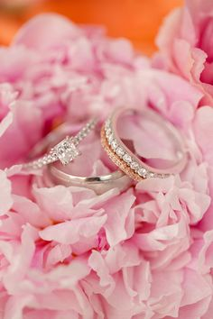 pretty square engagement ring + sparkly bands | Katelyn James #wedding