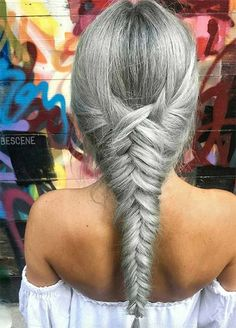 Granny Silver/ Grey Hair Color Ideas: Gray Fishtail Braid