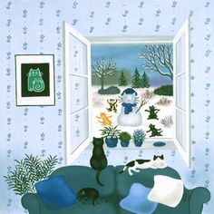 Painting of cat in the window. Yolande Salmon-Duval