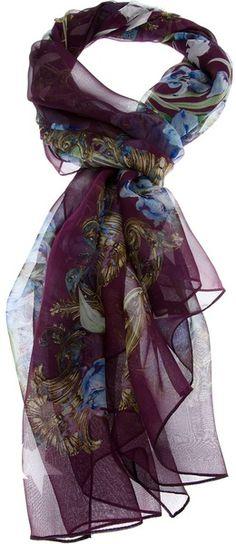 43adb30b3332 Women s Purple Floral Sheer Scarf. Lyst