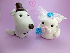 Hund und Katze Hochzeitstortenfiguren Brautpaar