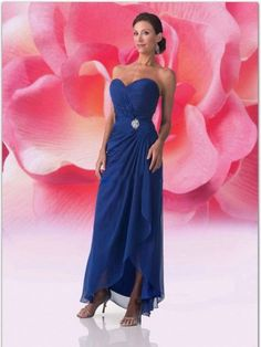 Sheath / Column Sweetheart  Ruffles  Sleeveless Ankle-length Chiffon Royal Blue Mother of the Bride Dresses (SZ0251611 )