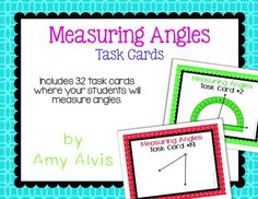 Measuring Angles - 32 task cards - SCOOT, $ Math Task Cards, Protractor, Percents, Fractions, Angles, Geometry, Student
