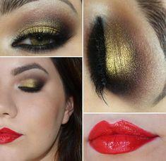 Tutorial – Maquiagem dourada e marrom com batom vermelho da Theodora Palette