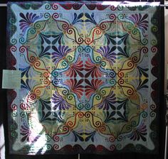 """Applique Quilt posted on quiltingboard.com by """"Justzme""""."""