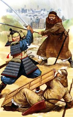Duel to death between Mongol warrior, Korean auxiliary and Japanese Samurai, Mongol Invasion of Japan