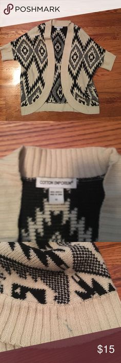Aztec pattern open sweater sz M Aztec pattern open sweater sz M. Good condition with one small mark as pictured. Tagged anthropologie for exposure. Anthropologie Sweaters Shrugs & Ponchos