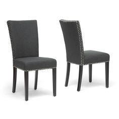 Harrowgate Dark Gray Linen Modern Dining Chair