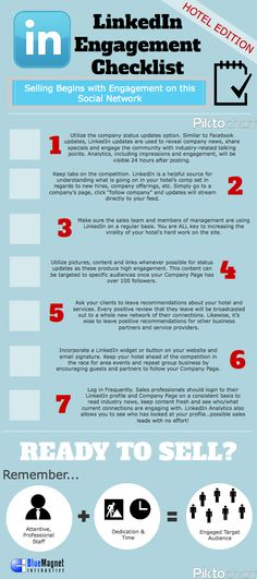 Linkedin engagement checklist Hotel edition #infographic