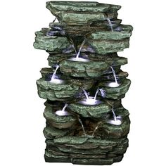 Lamps Plus Rainforest Waterfall Stacked Tier LED Floor Fountain ($689) ❤ liked on Polyvore featuring home, outdoors, garden fountains, fountains, red, outdoor garden fountains, outdoor patio fountains, garden waterfall fountain and tiered garden fountains