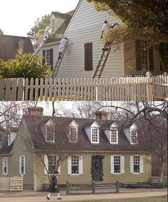The Thomas Everand House before the repainting (bottom) and after.
