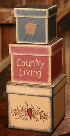 New Primitive Folk Art COUNTRY LIVING STAR & HEART VINE Nesting Stacking Boxes  #Country
