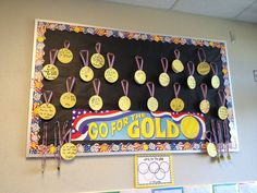Goals board. Each student writes a goal on a medal.