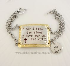 For I Know The Plans I Have for You Personalized Bracelet, Christian Inspirational Gift, Bible Verse Hand Stamped Bracelet, Class of 2014