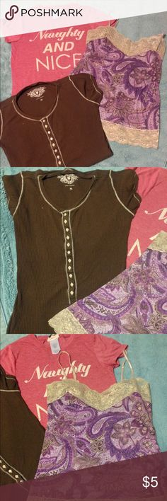 Top Bundle of 3 3 different tops one bundle price! The red shirt is super soft and says Naughty and Nice on it. Size XS but fits more like a S. Brown shirt buttons most of the way down so can be layered over a tank top. Has a small discoloration on the left sleeve appears darker brown. Size M true to size. Tank top is by Weevers also a M. Purple design with lace borders on the top and bottom, adjustable straps. Shirts are in worn condition but are not torn or stained badly. Brown shirt stain…
