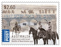 The famous 1917 Battle of Beersheba on our stamp - a re-enactment featuring Australian Light Horsemen. #stampcollecting