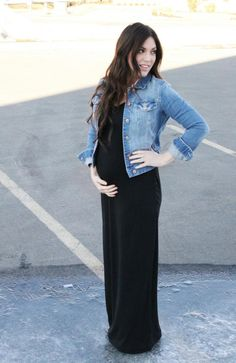 Denim jacket over maxi dress