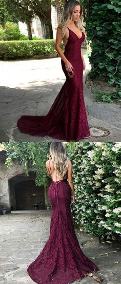 modest burgundy lace prom dresses, simple v neck mermaid wedding party dresses, unique backless criss cross straps evening gowns