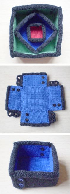 Free Knitting Pattern for Button Up Boxes - These reversible boxes button together at the corners and are stiffened with plastic canvas. 3 sizes. Designed by the amazing Frankie Brown. Great stash buster!
